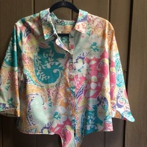 Chico's front tie tropical shirt- ready for summer